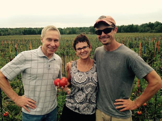 Jake, the farmer boy, with my parents.